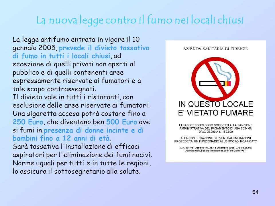 La nuova legge contro il fumo nei locali chiusi