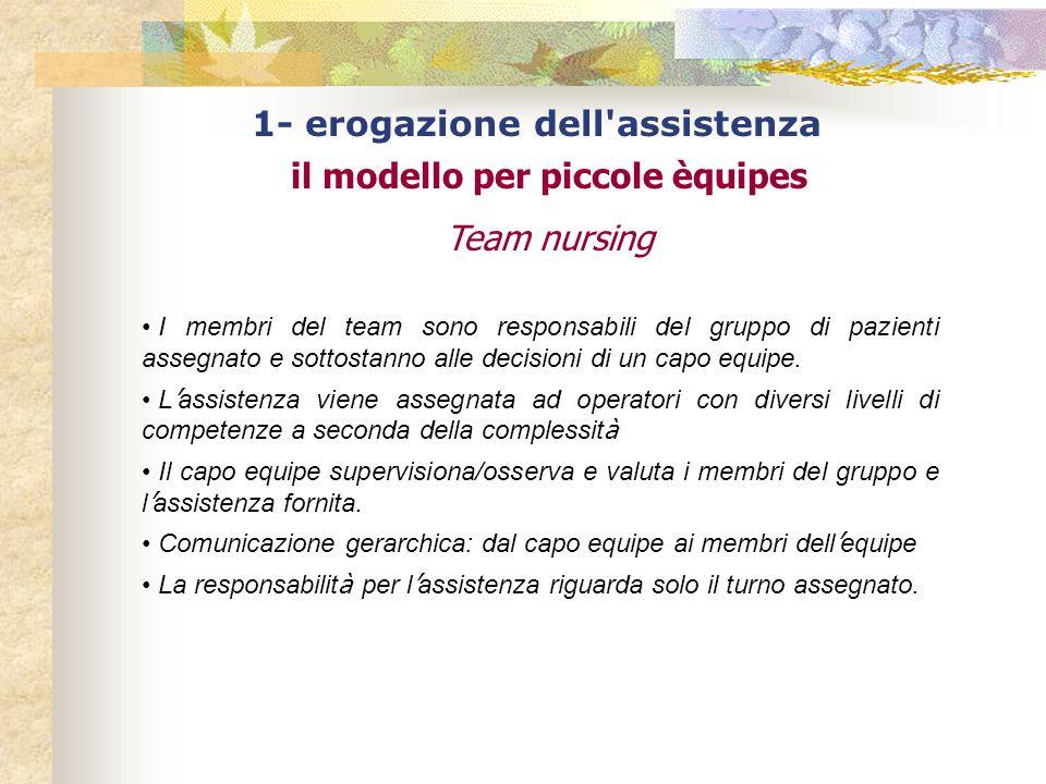 1- erogazione dell assistenza il modello per piccole èquipes