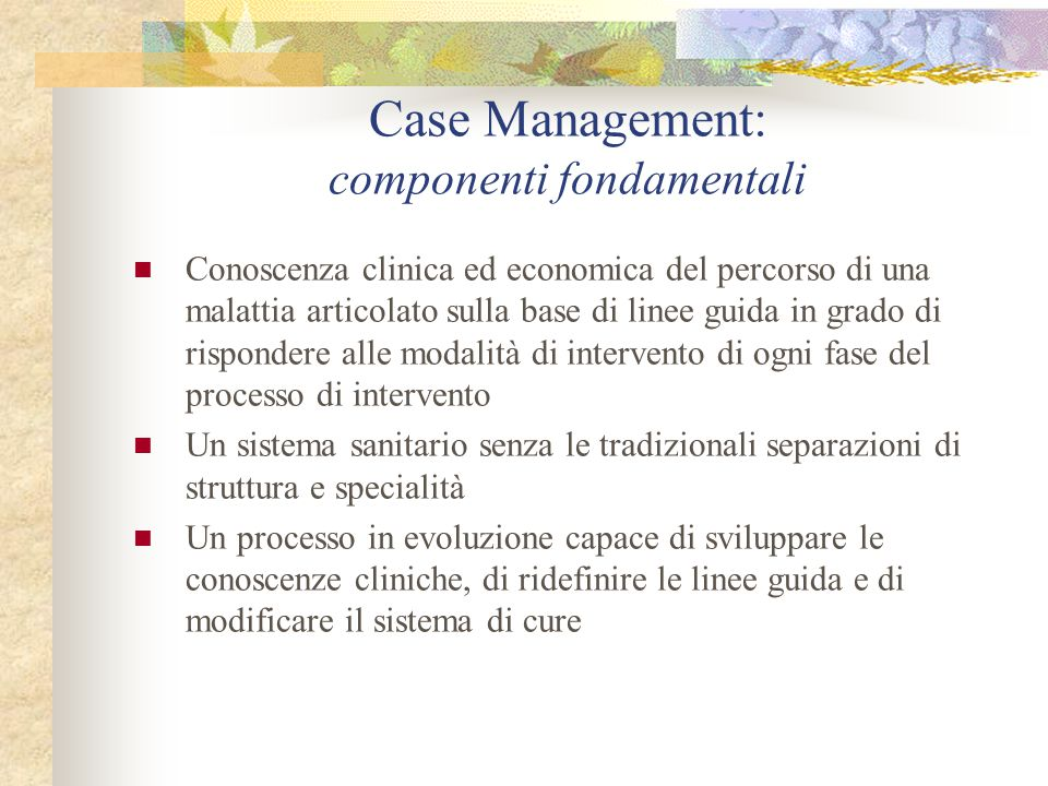 Case Management: componenti fondamentali