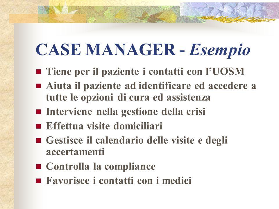CASE MANAGER - Esempio Tiene per il paziente i contatti con l'UOSM