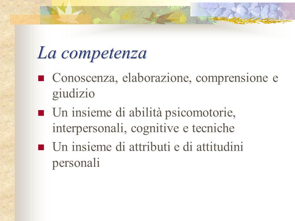 La competenza Conoscenza, elaborazione, comprensione e giudizio