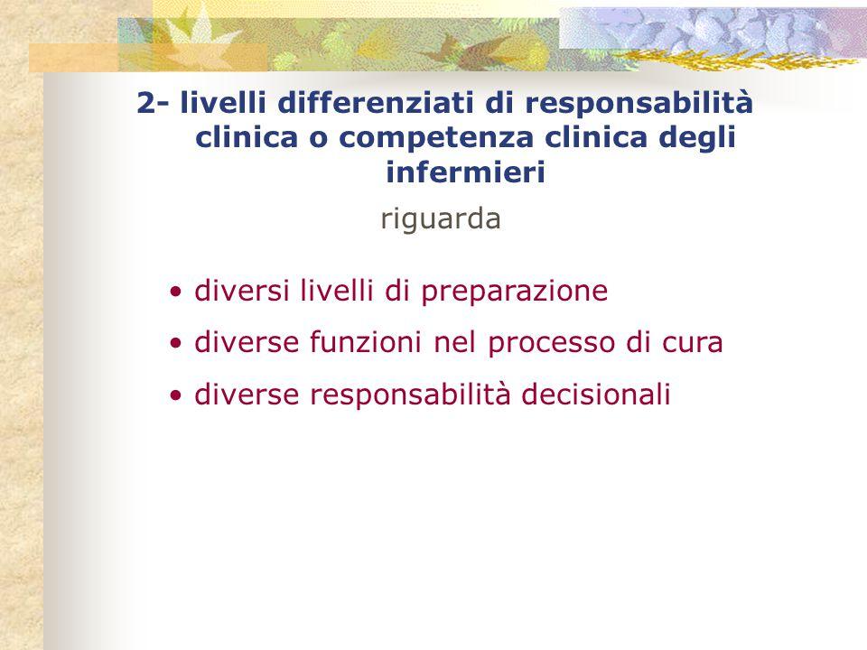 2- livelli differenziati di responsabilità clinica o competenza clinica degli infermieri
