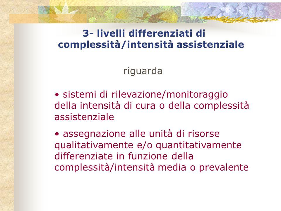 3- livelli differenziati di complessità/intensità assistenziale