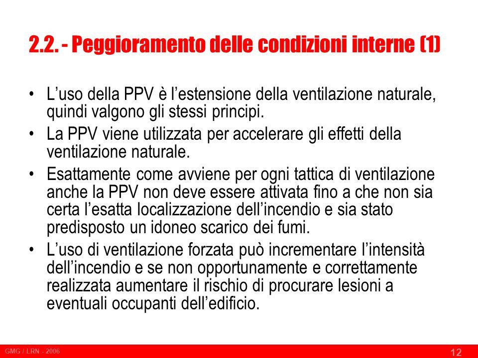 2.2. - Peggioramento delle condizioni interne (1)