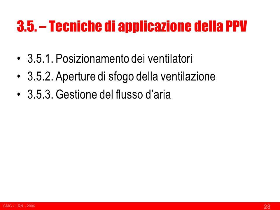 3.5. – Tecniche di applicazione della PPV