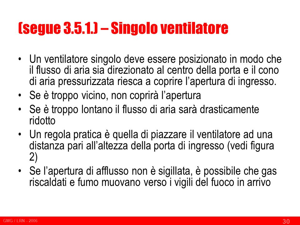 (segue 3.5.1.) – Singolo ventilatore