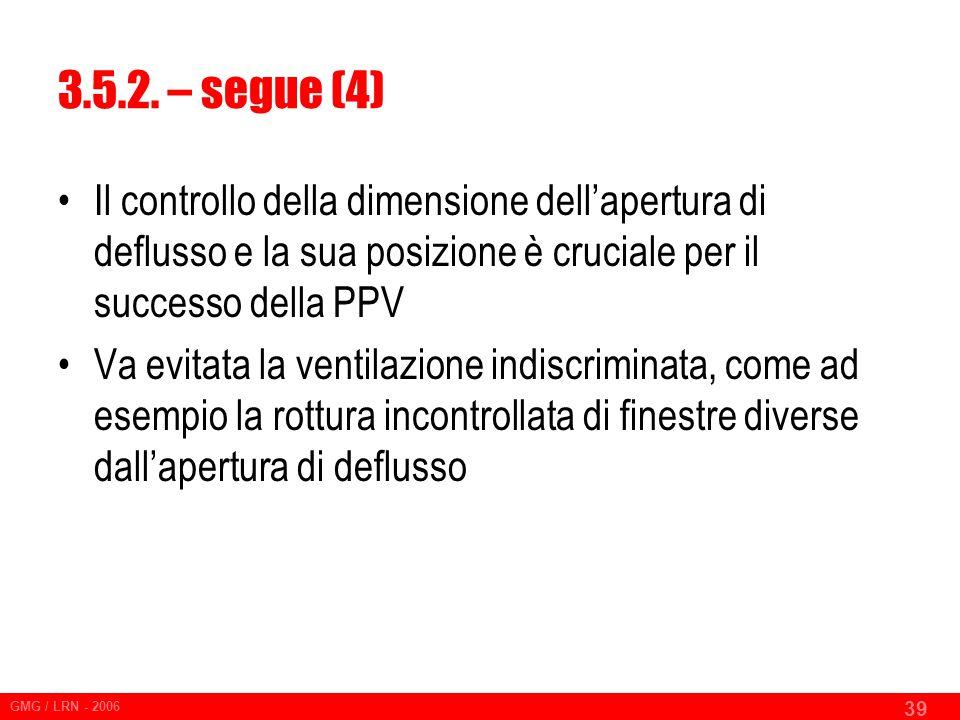 3.5.2. – segue (4) Il controllo della dimensione dell'apertura di deflusso e la sua posizione è cruciale per il successo della PPV.