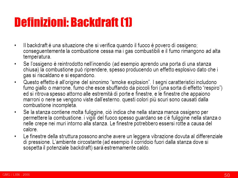 Definizioni: Backdraft (1)