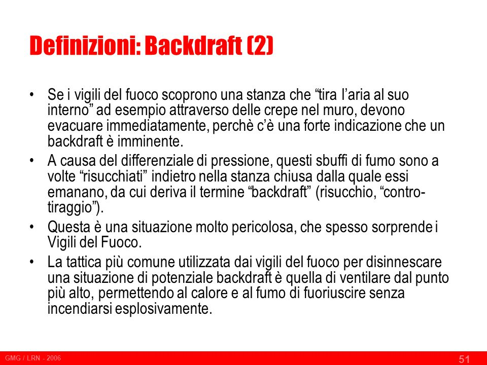 Definizioni: Backdraft (2)