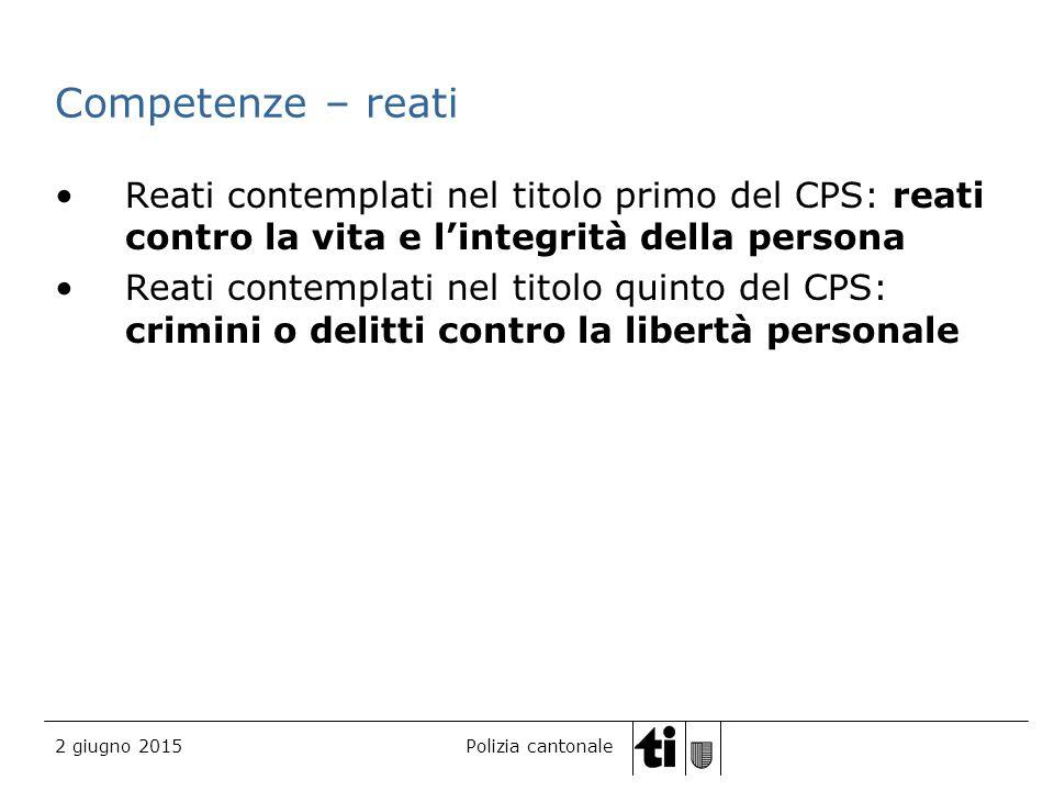 Competenze – reati Reati contemplati nel titolo primo del CPS: reati contro la vita e l'integrità della persona.