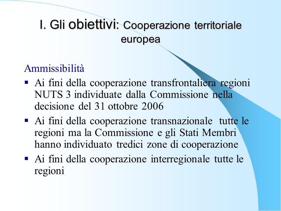I. Gli obiettivi: Cooperazione territoriale europea