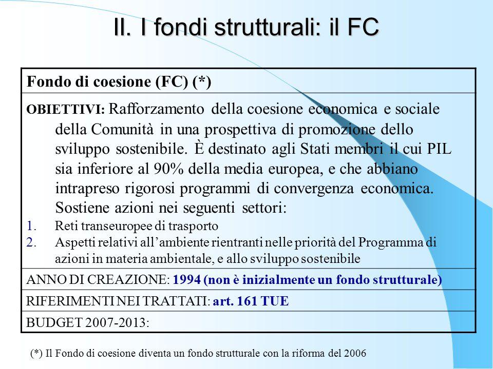 II. I fondi strutturali: il FC