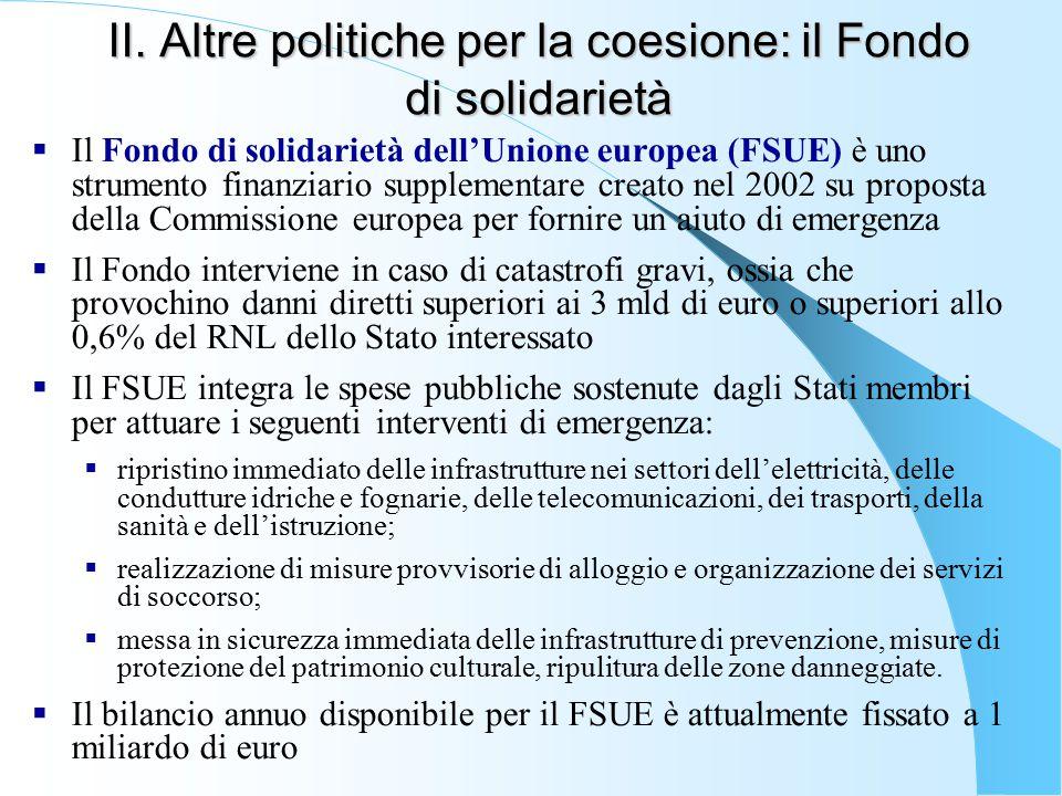 II. Altre politiche per la coesione: il Fondo di solidarietà