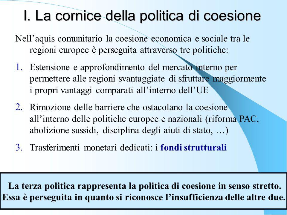 I. La cornice della politica di coesione