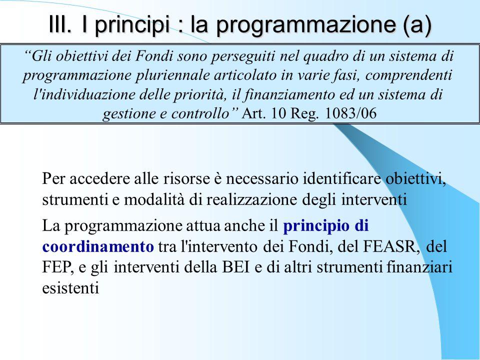 III. I principi : la programmazione (a)