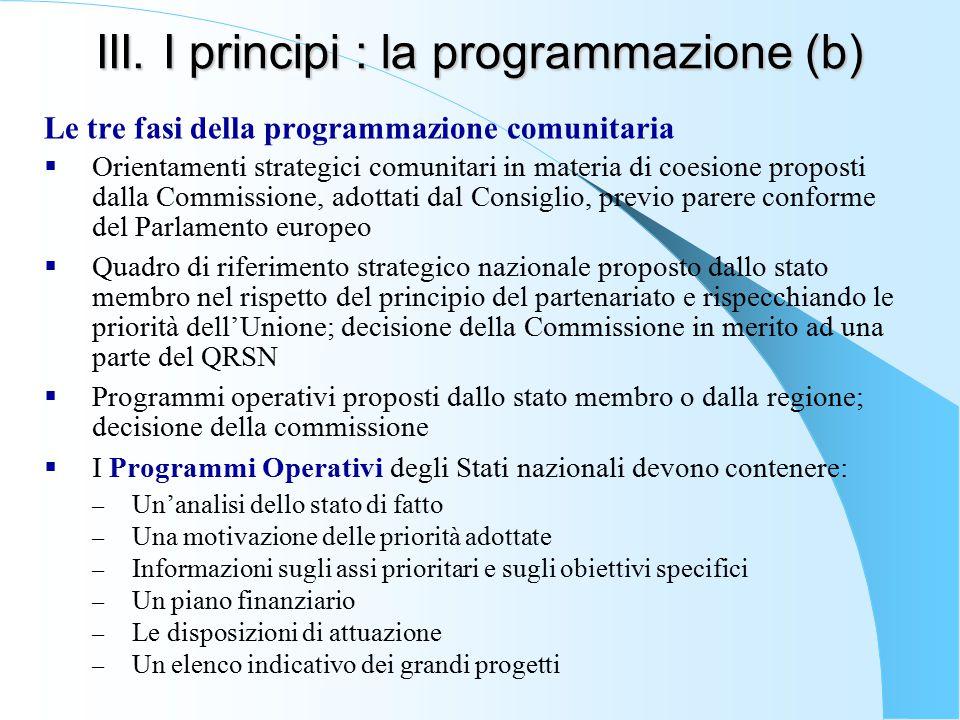 III. I principi : la programmazione (b)