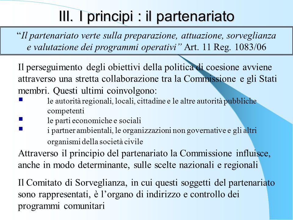 III. I principi : il partenariato
