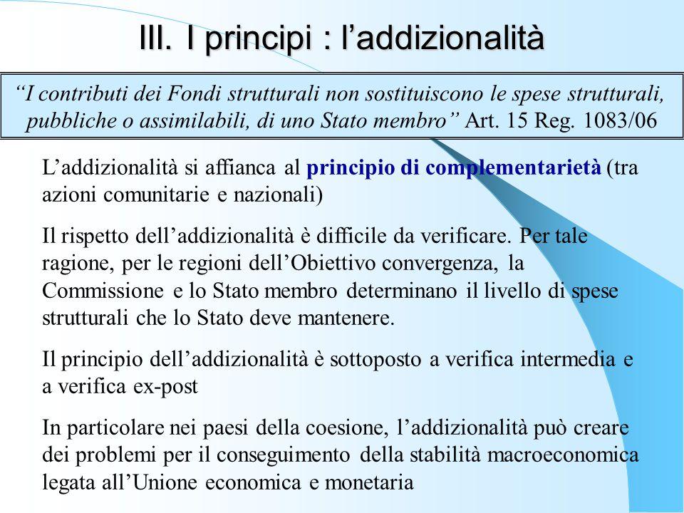 III. I principi : l'addizionalità