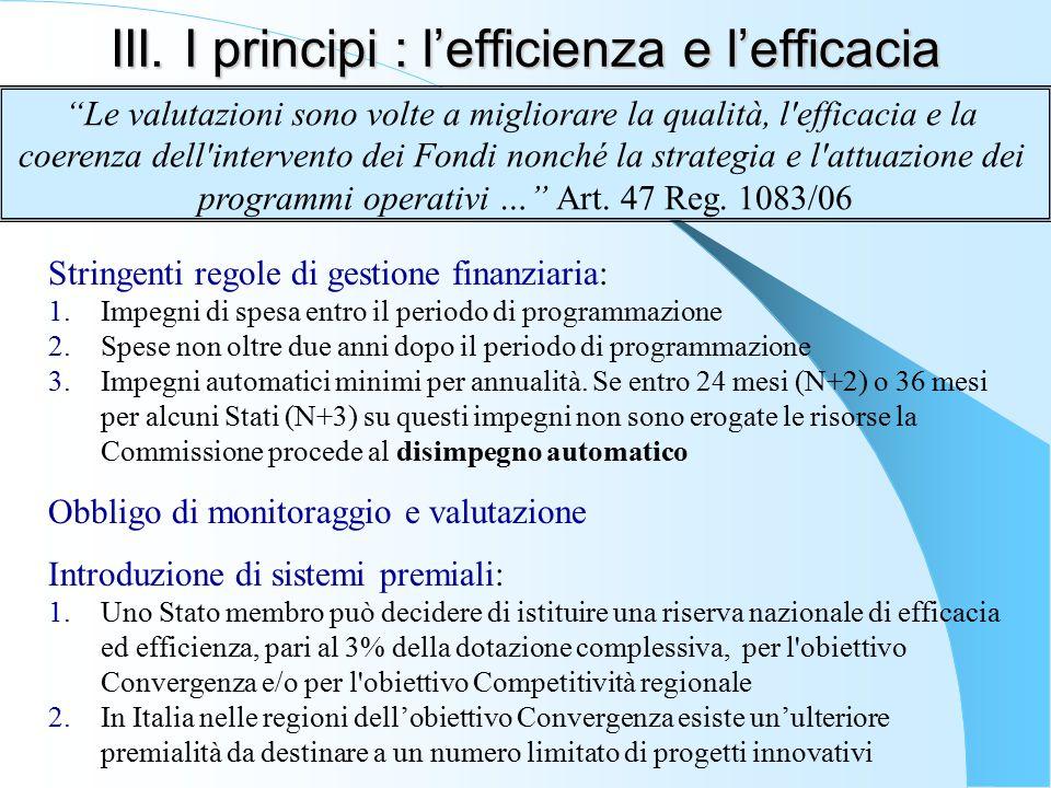 III. I principi : l'efficienza e l'efficacia