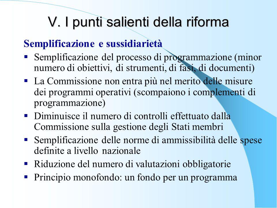 V. I punti salienti della riforma