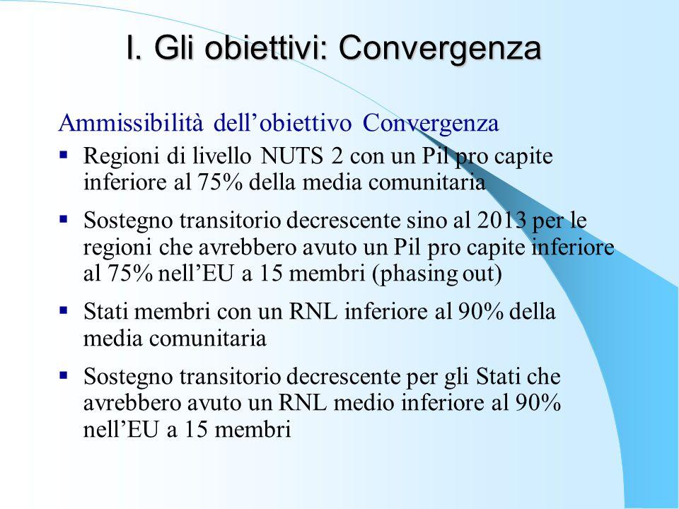 I. Gli obiettivi: Convergenza