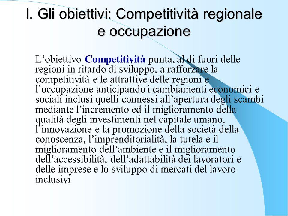 I. Gli obiettivi: Competitività regionale e occupazione