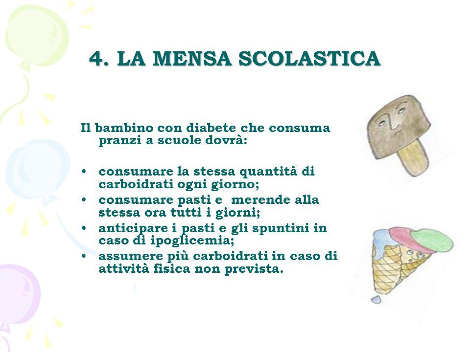 4. LA MENSA SCOLASTICA Il bambino con diabete che consuma pranzi a scuole dovrà: consumare la stessa quantità di carboidrati ogni giorno;