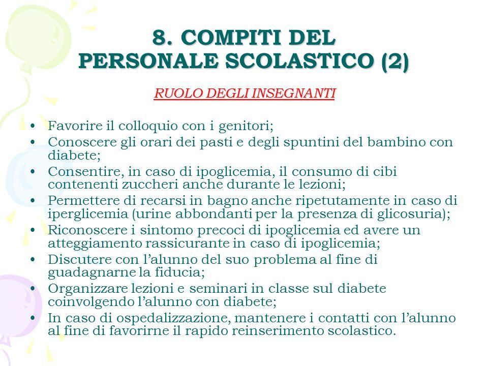 8. COMPITI DEL PERSONALE SCOLASTICO (2)
