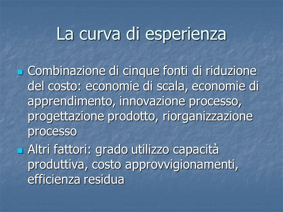 La curva di esperienza