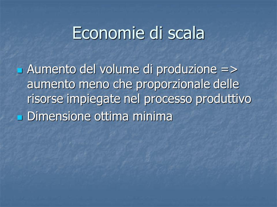 Economie di scala Aumento del volume di produzione => aumento meno che proporzionale delle risorse impiegate nel processo produttivo.