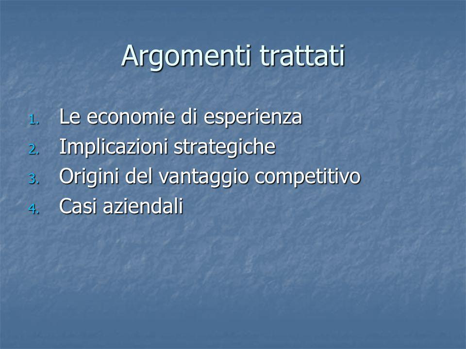 Argomenti trattati Le economie di esperienza Implicazioni strategiche