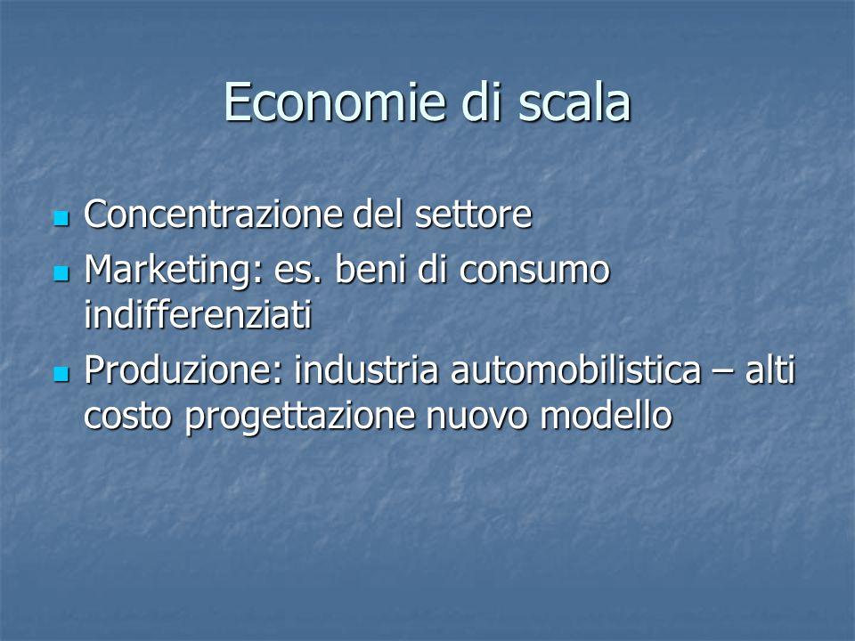 Economie di scala Concentrazione del settore