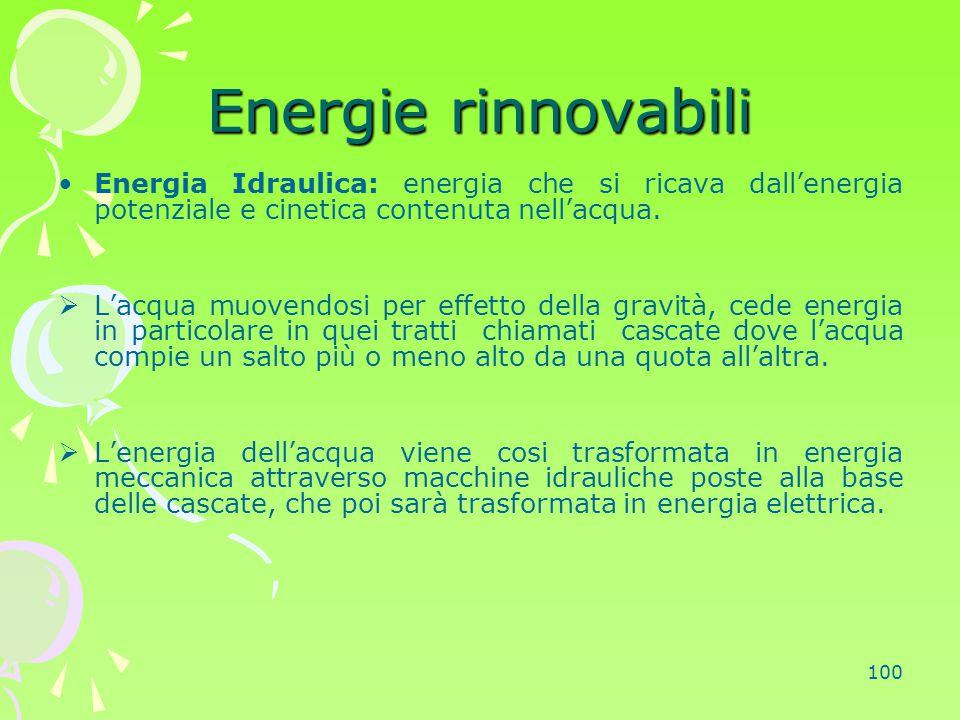 Energie rinnovabili Energia Idraulica: energia che si ricava dall'energia potenziale e cinetica contenuta nell'acqua.