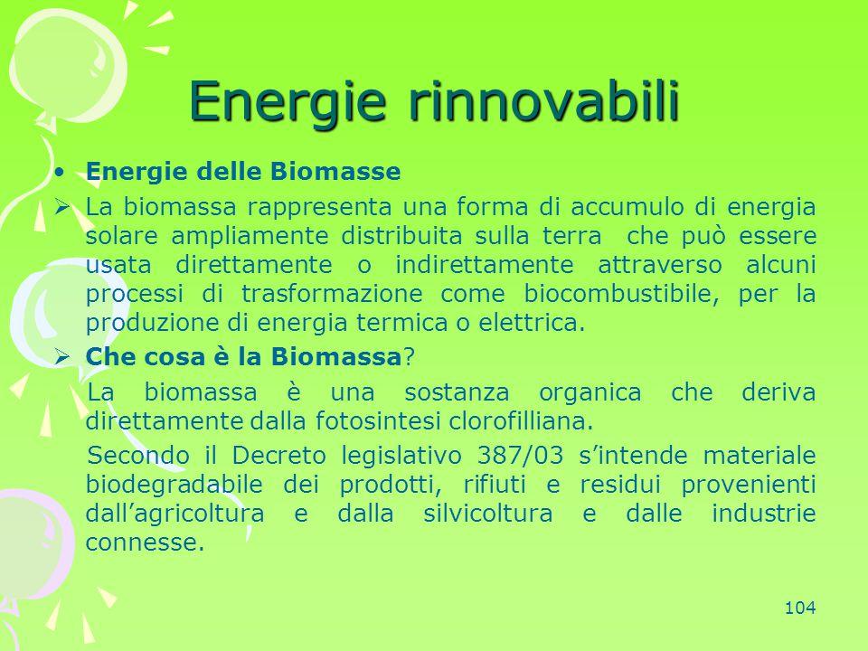 Energie rinnovabili Energie delle Biomasse