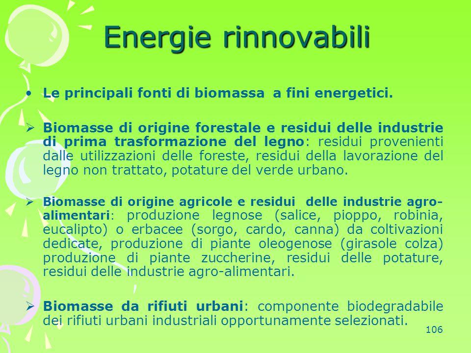 Energie rinnovabili Le principali fonti di biomassa a fini energetici.