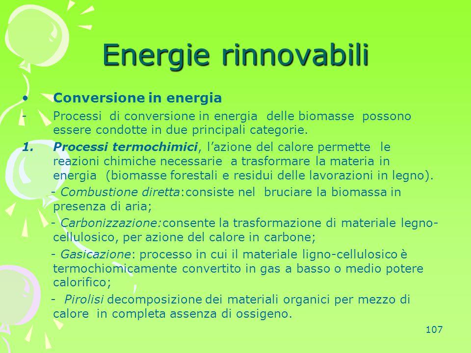 Energie rinnovabili Conversione in energia