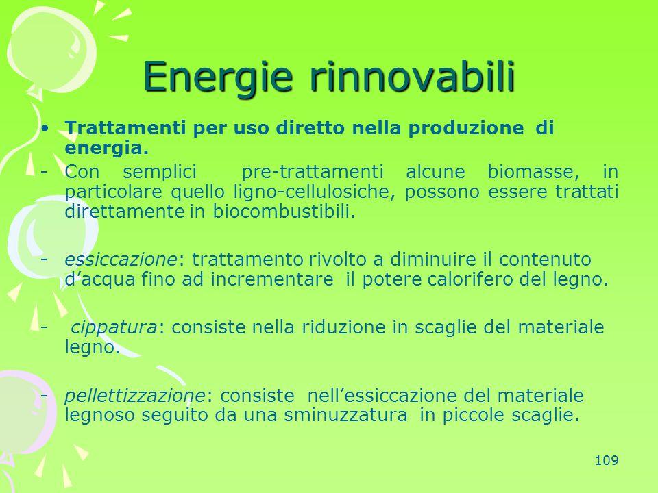 Energie rinnovabili Trattamenti per uso diretto nella produzione di energia.