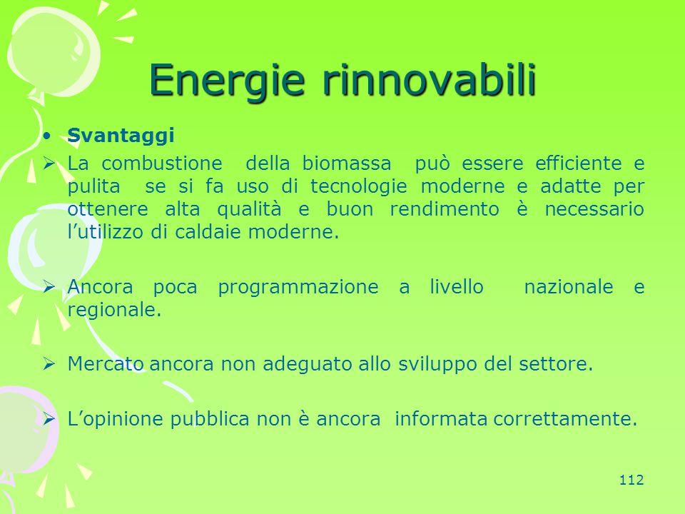 Energie rinnovabili Svantaggi