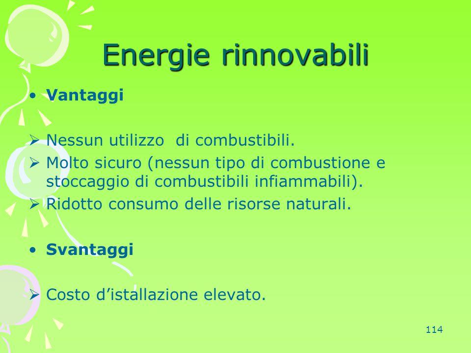 Energie rinnovabili Vantaggi Nessun utilizzo di combustibili.
