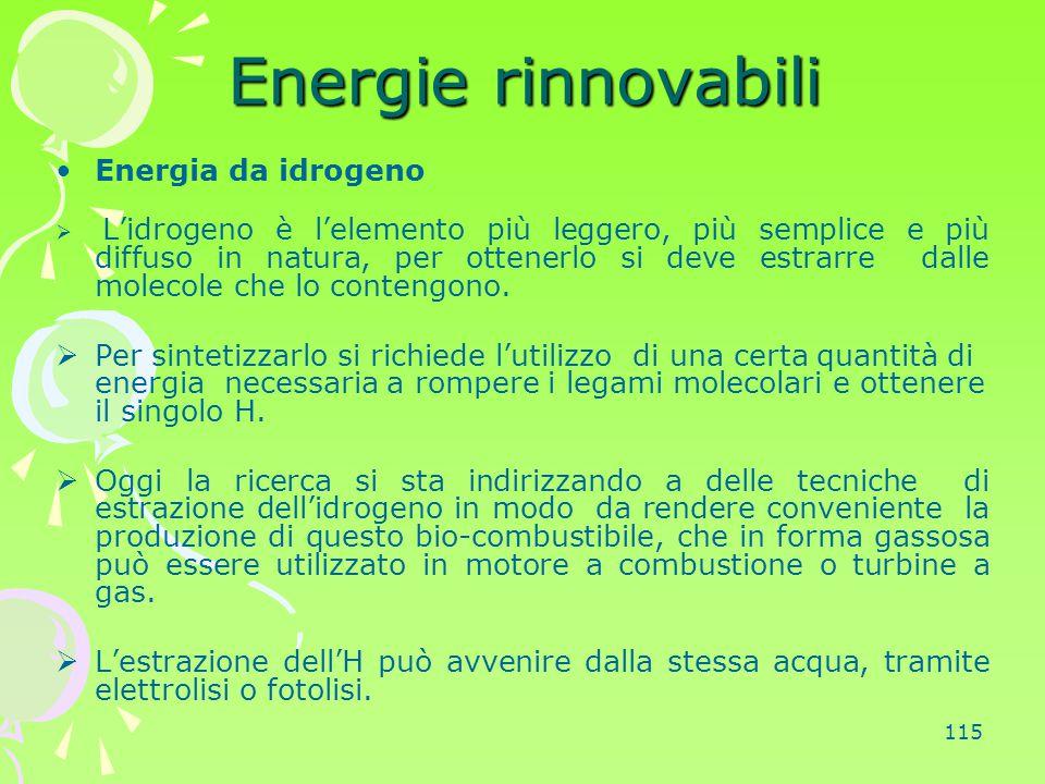 Energie rinnovabili Energia da idrogeno