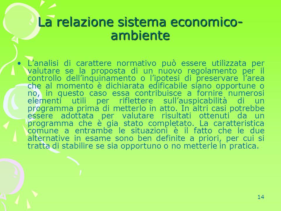 La relazione sistema economico-ambiente