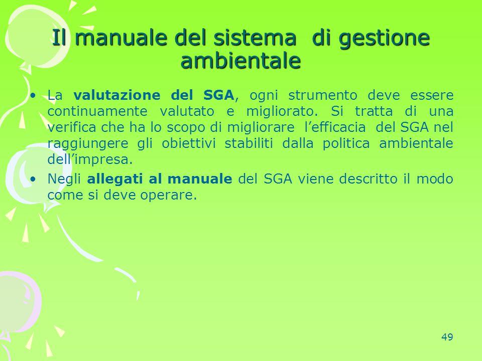 Il manuale del sistema di gestione ambientale