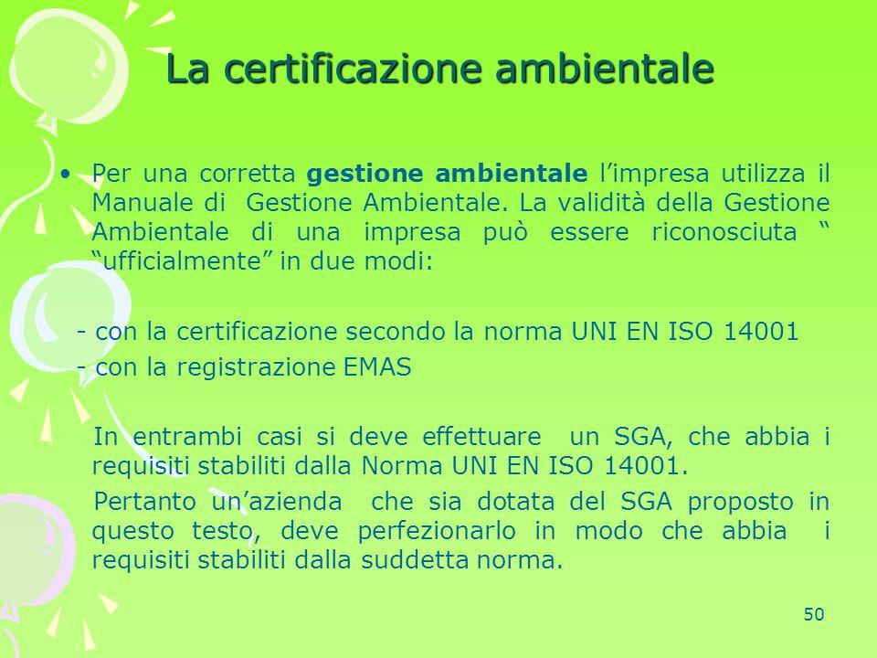 La certificazione ambientale