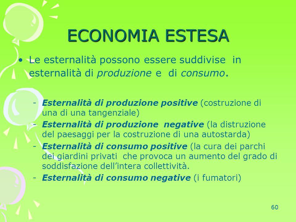 ECONOMIA ESTESA Le esternalità possono essere suddivise in esternalità di produzione e di consumo.