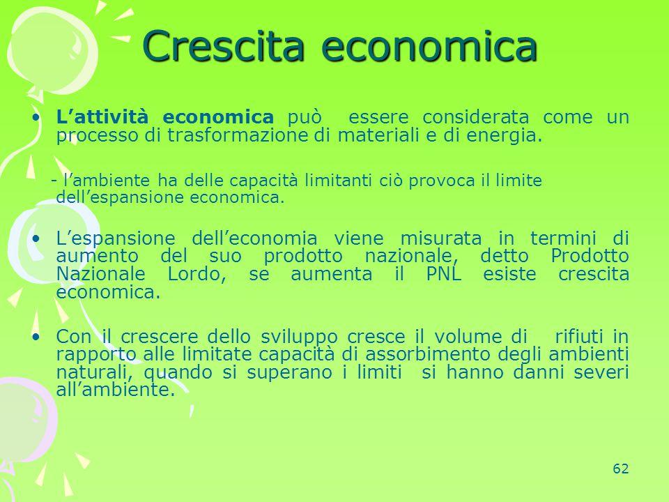 Crescita economica L'attività economica può essere considerata come un processo di trasformazione di materiali e di energia.