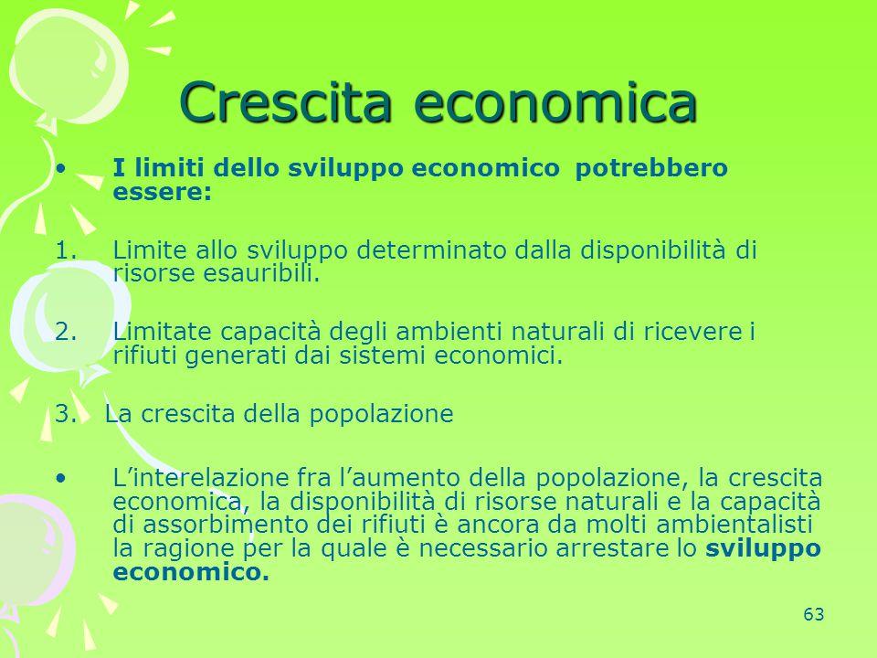 Crescita economica I limiti dello sviluppo economico potrebbero essere: Limite allo sviluppo determinato dalla disponibilità di risorse esauribili.
