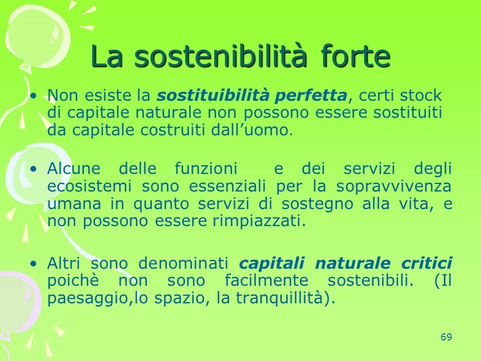 La sostenibilità forte