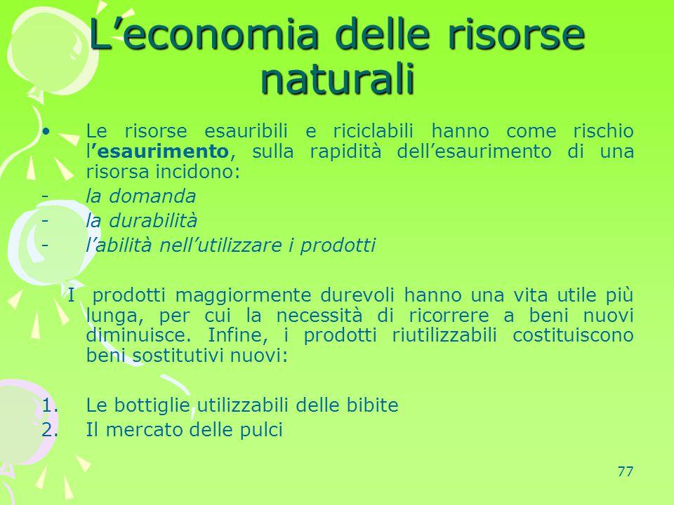 L'economia delle risorse naturali