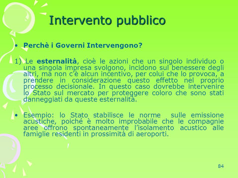 Intervento pubblico Perchè i Governi Intervengono