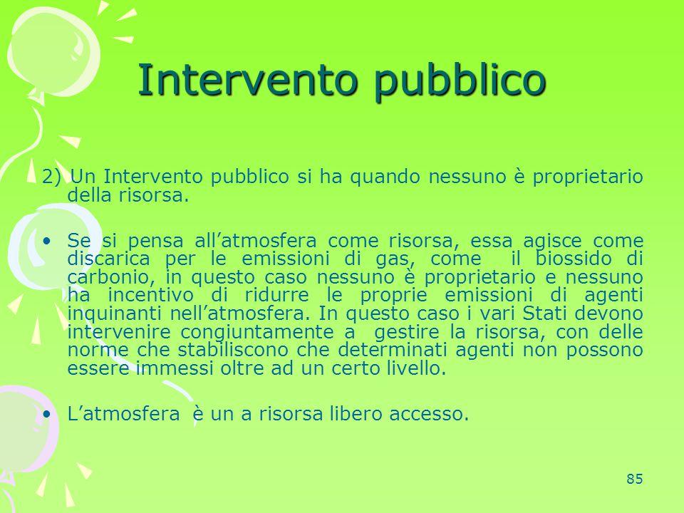 Intervento pubblico 2) Un Intervento pubblico si ha quando nessuno è proprietario della risorsa.